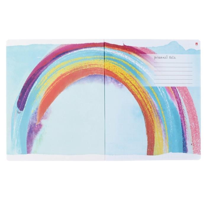 Тетрадь 48 листов клетка «Радуга», обложка мелованный картон, УФ-лак, фольгирование, МИКС