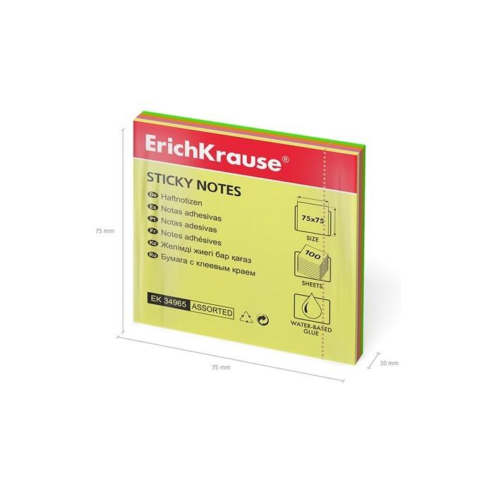 Бумага для заметок с клеевым краем ErichKrause Neon 75 х 75мм, 100л, микс 34965