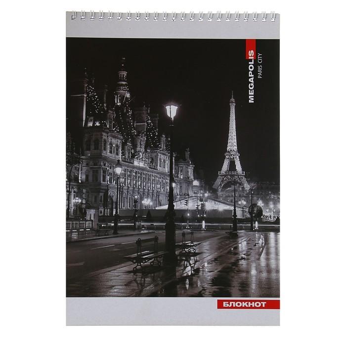 Блокнот А4, 50 листов клетка на гребне «Париж», обложка мелованный картон, ВД-лак, 60 г/м?