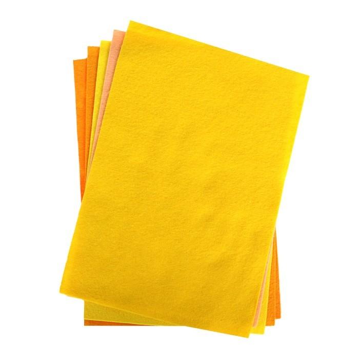 Фетр цветной набор A4, 2 мм deVENTE, 5 листов, 5 цветов, «Оттенки жёлтого»