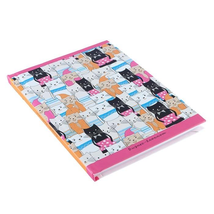 Блокнот А6, 80 листов «Орнамент кошки», твёрдая обложка, глиттер