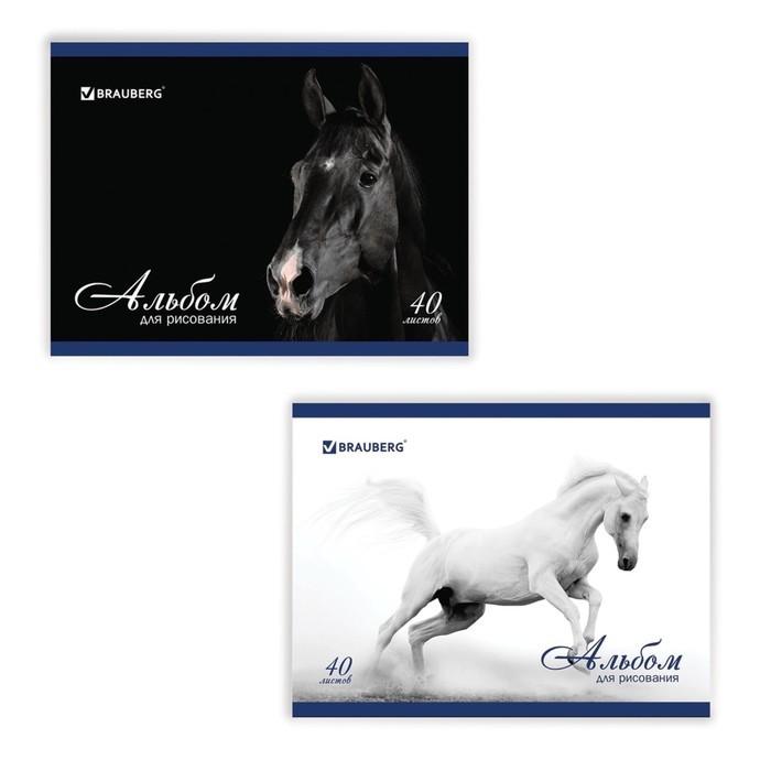 Альбом для рисования А4, 40 листов на скрепке, BRAUBERG «Благородные кони», 100 г/м2