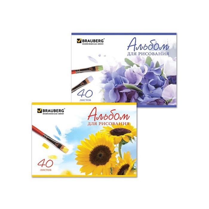 Альбом для рисования BRAUBERG «Цветы», А4, 40 листов на скрепке, 110 г/м2
