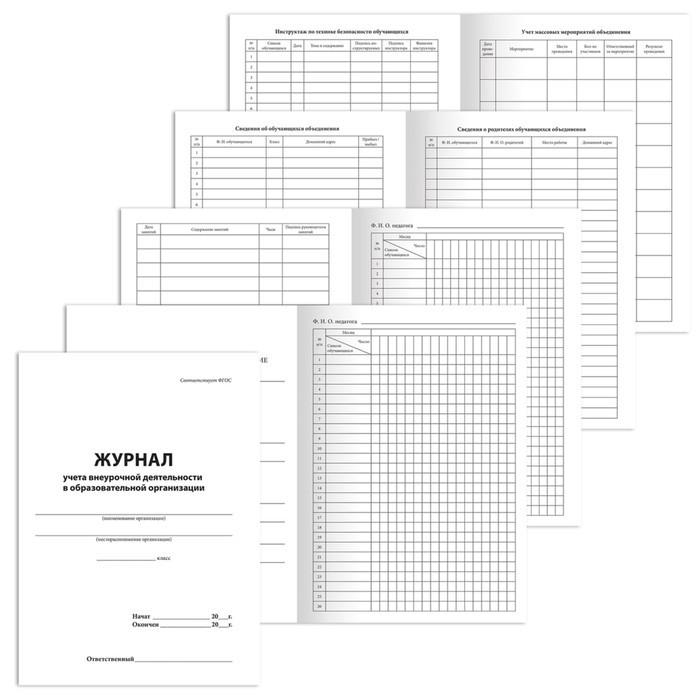 Журнал учёта внеурочной деятельности в образовательных организациях А4, 32 листа, BRAUBERG