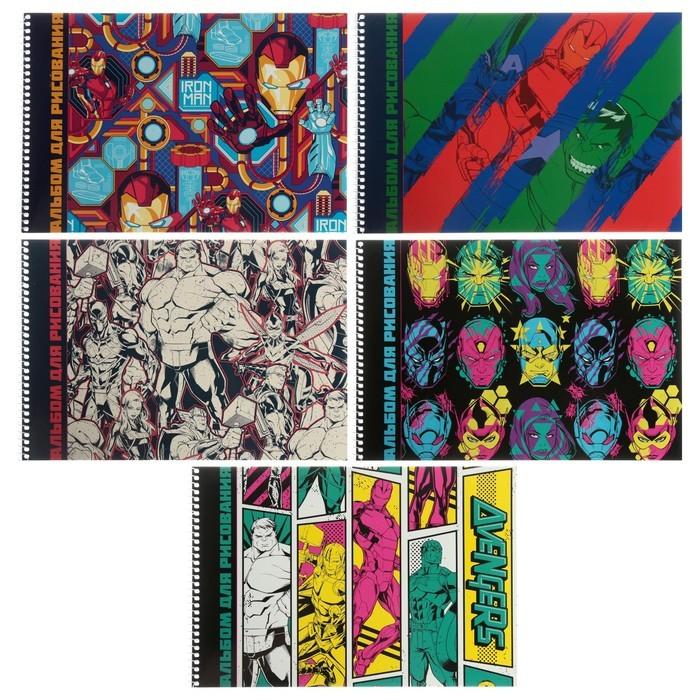 Альбом для рисования А4, 32 листа на гребне «Мстители MARVEL», обложка мелованный картон, МИКС