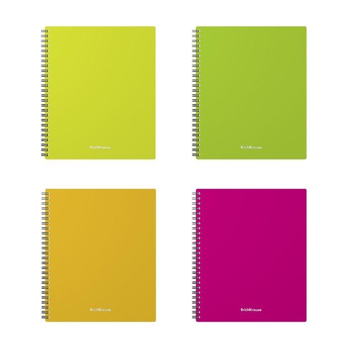 Тетрадь А5+, 60 листов, на гребне, GLANCE NEON, пластиковая обложка, микс