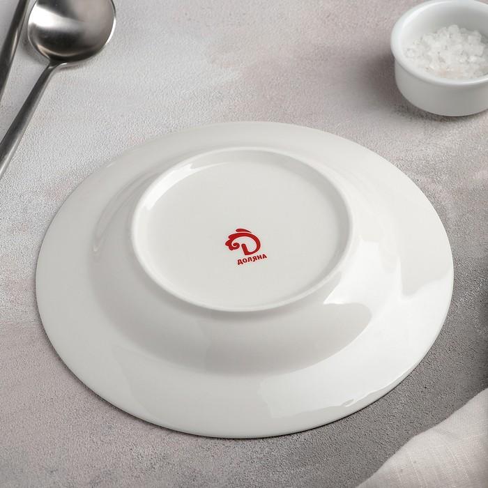 Тарелка суповая «Селена», 20,2?3,5 см, цвет белый/синий
