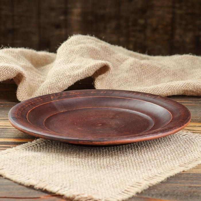 Тарелка 21 см, красная глина