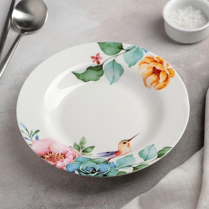 Тарелка суповая «Пташка», 20,2?3,5 см, цвет белый