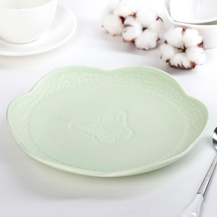 Тарелка «Бабочка», 20,5?2 см, цвет зелёный