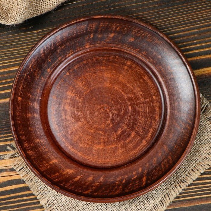 Тарелка 20 см, красная глина