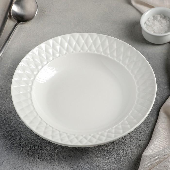 Тарелка суповая «Блик», 23?4 см, цвет белый