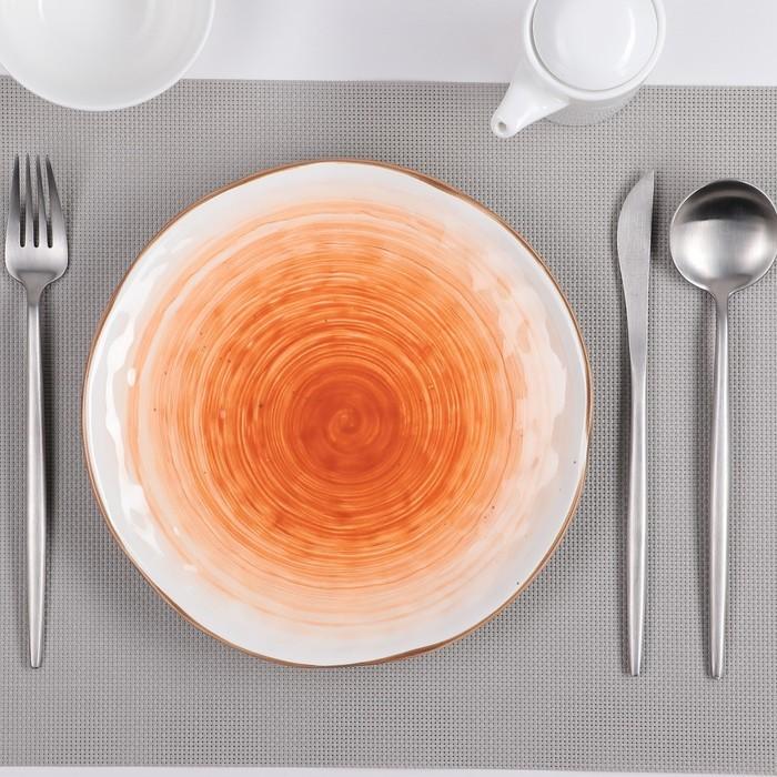 Тарелка «Юпитер», 21,8 см, цвет белый/оранжевый