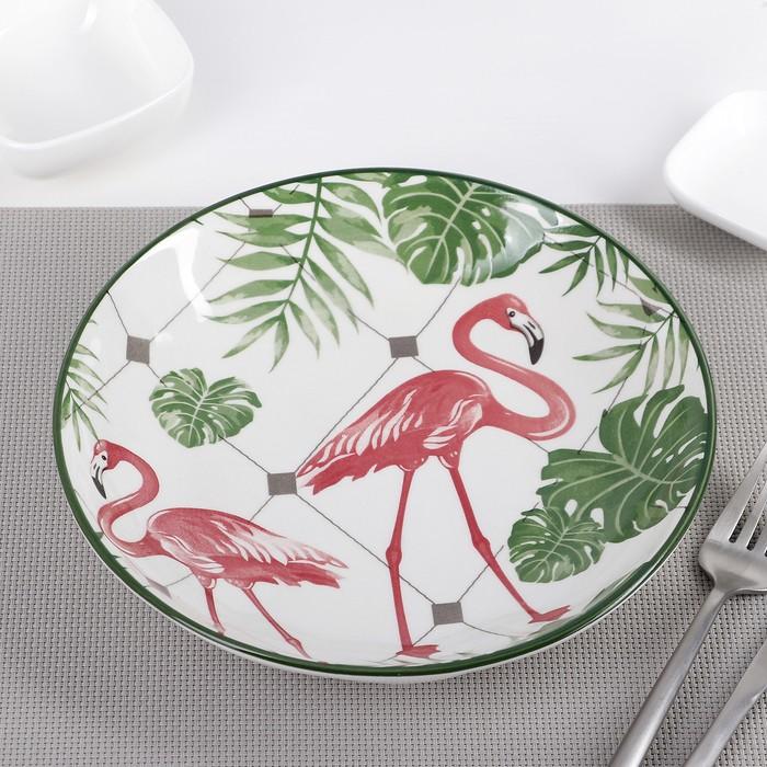 Тарелка «Фламинго», 20,5?4 см, цвет белый