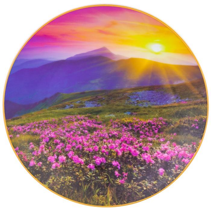 Тарелка декоративная «Цветочное поле и горы» круг, крючок, подставка, d=20 см