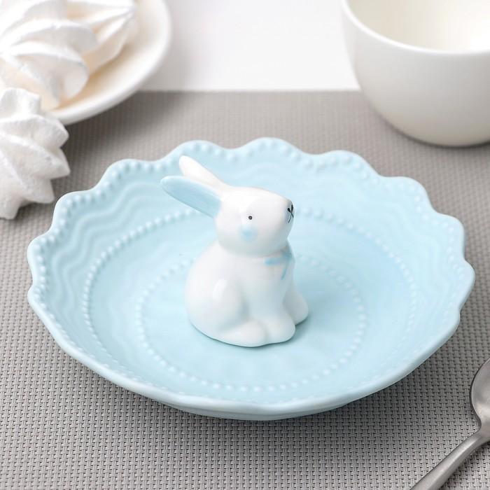 Блюдце «Кружева Кролик», 15 см, цвет голубой
