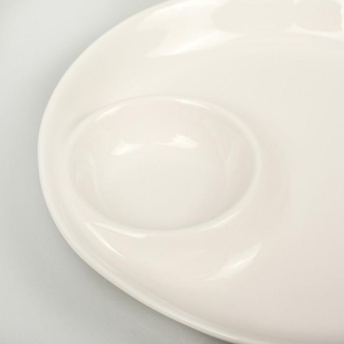 Блюдо с соусником «White Label», 25 см, цвет белый
