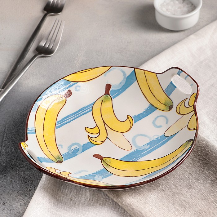 Блюдо круглое «Бананы», 24?21?3 см