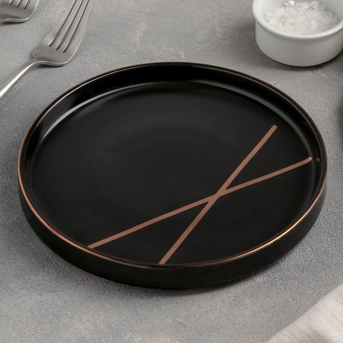 Тарелка десертная «Gold band», 18 см, цвет чёрный
