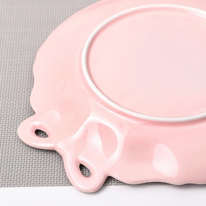 Тарелка десертная «Кружева», 20 см, цвет розовый