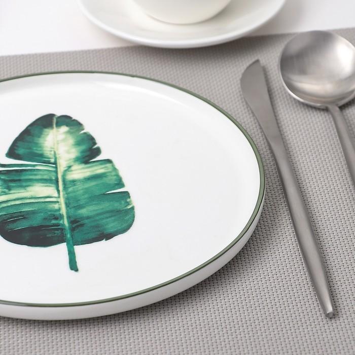 Тарелка десертная «Ботаника Пальма», 20 см, цвет белый/зелёный