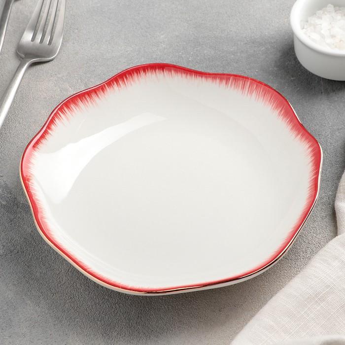 Тарелка пирожковая «Медуза», 17,5?2,5 см, цвет белый/красный