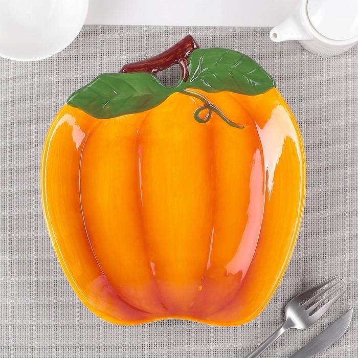 Тарелка «Тыква», 24?21,5?4 см, цвет оранжевый