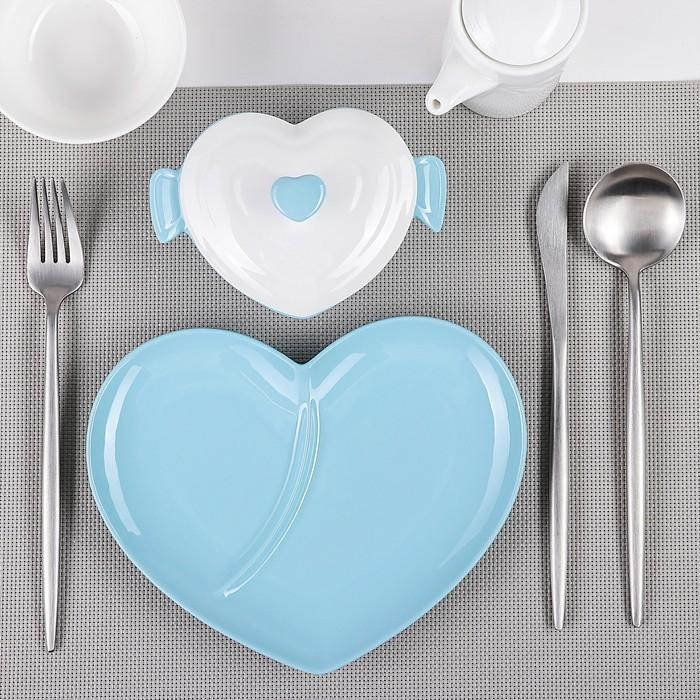 Блюдо с супницей «Пастель», 22?16,5?8 см, цвет голубой