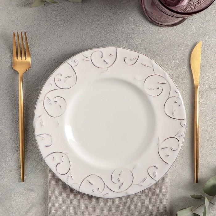 Тарелка «Feston/Patine», d=22 см, цвет белый