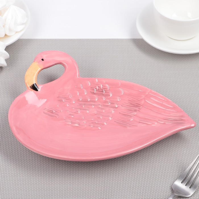 Тарелка «Фламинго. Дитя заката», 24?18?5,5 см , цвет розовый