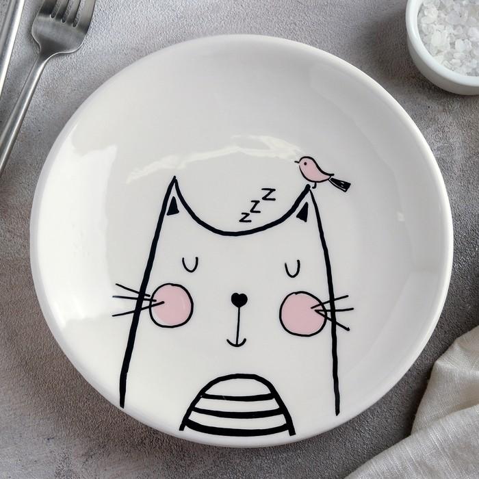 Тарелка «Мяу», 19,5?3 см, цвет белый