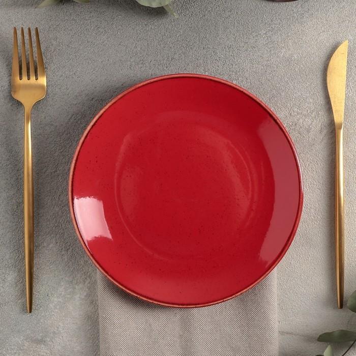 Тарелка плоская d=18 см, цвет красный