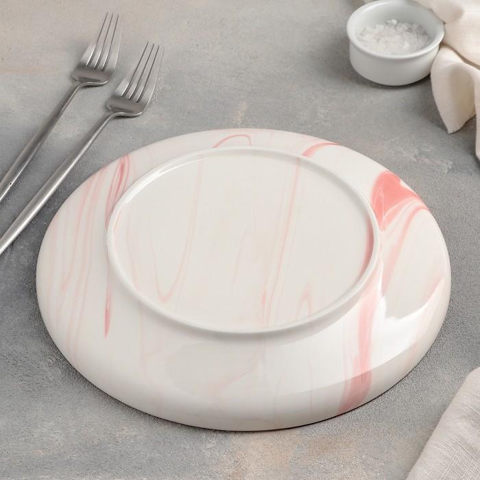 Тарелка обеденная «Мрамор», 25 см, цвет розовый