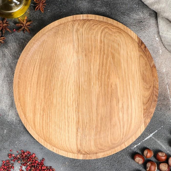 Тарелка с прямым бортиком, массив дуба, 25 см