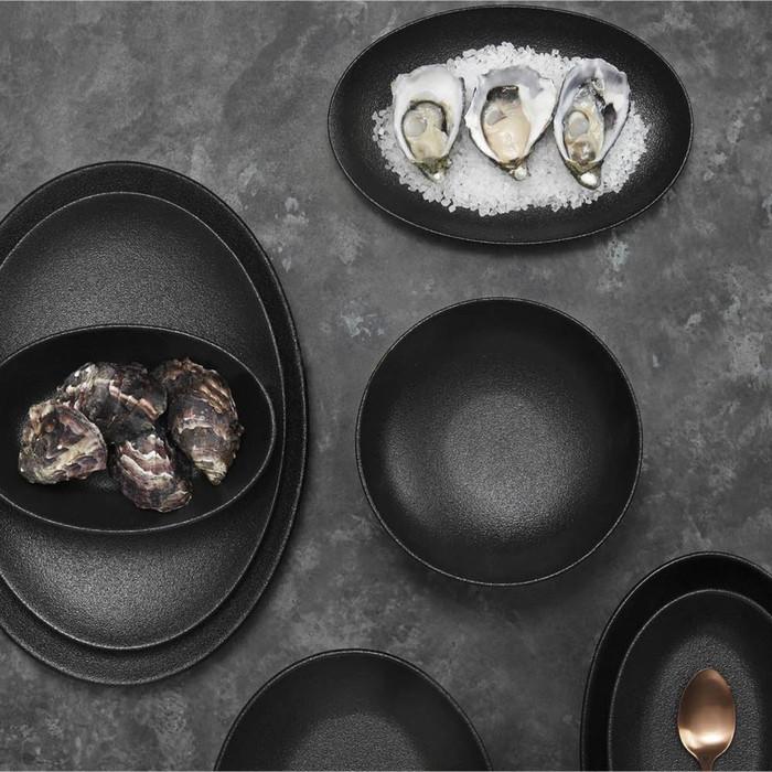 Тарелка обеденная «Икра», 27.5 см, чёрная