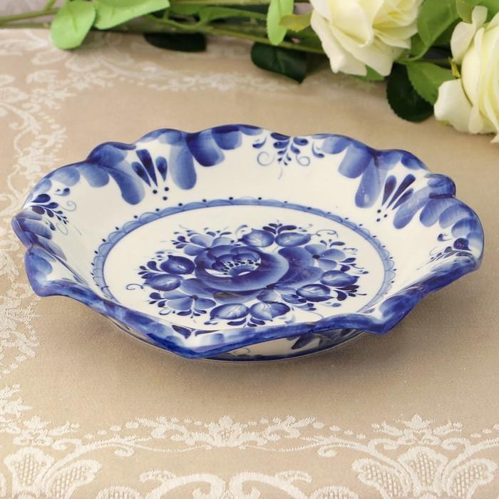 Тарелка под блины «Цветок», 23,5х15х4 см, гжель