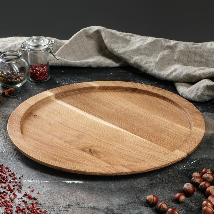 Тарелка обеденная, массив дуба, 35 см
