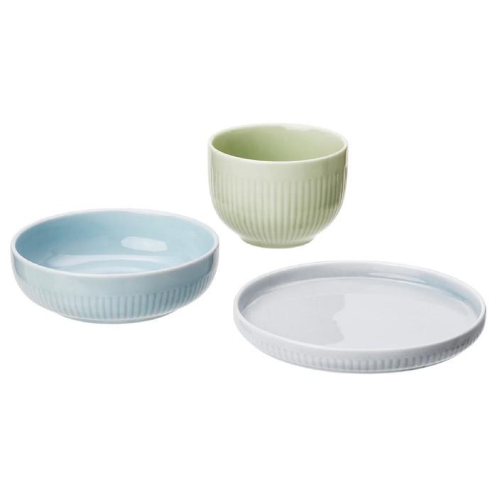 Набор тарелок МОРГОНТЕ, 3 шт, разноцветный