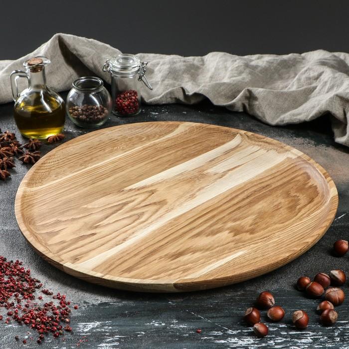 Тарелка деревянная, массив дуба, 40,5 см