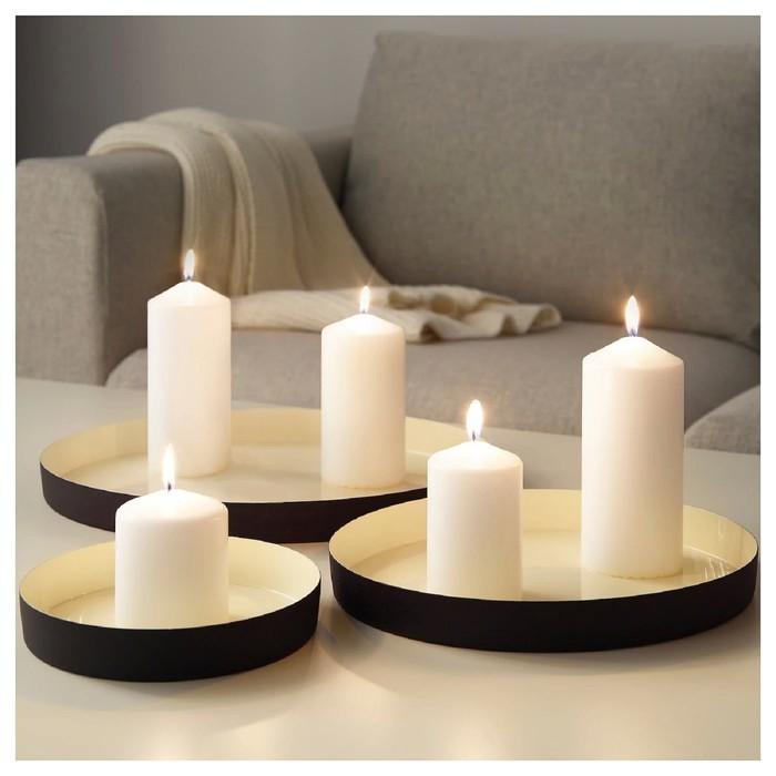 Набор тарелок для свечи ГЛИТРИГ, 3 шт, цвет слоновая кость, цвет чёрный