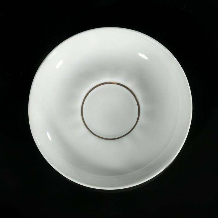 Блюдце, d=15 см, цвет белый/серебристый